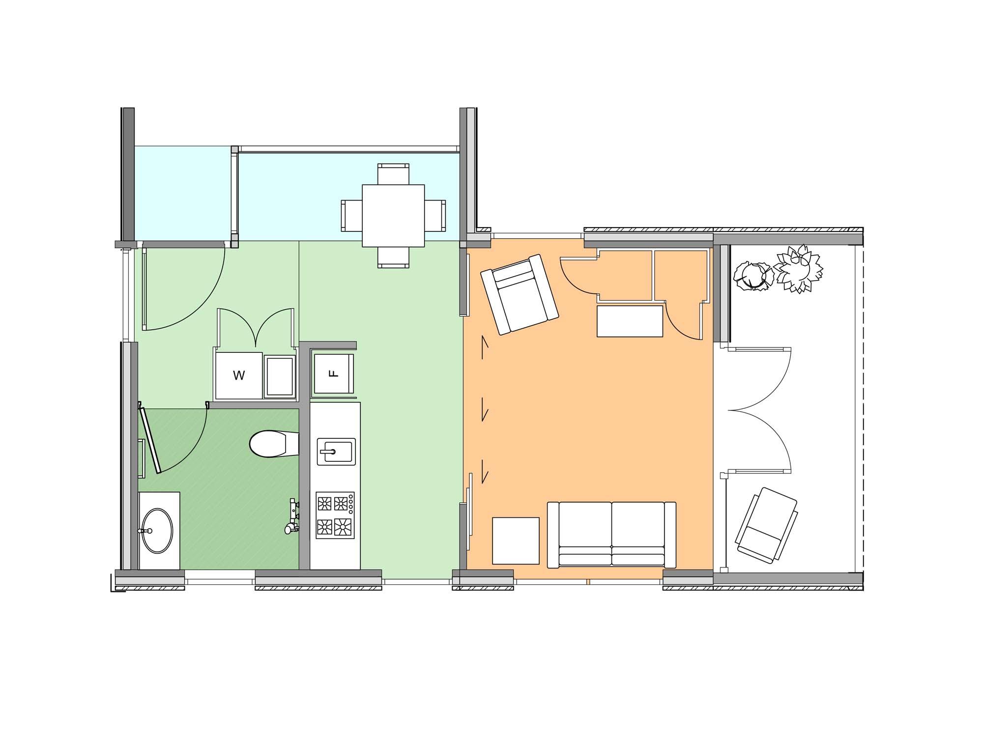 Plan of studio Te Whare-iti TWI 01