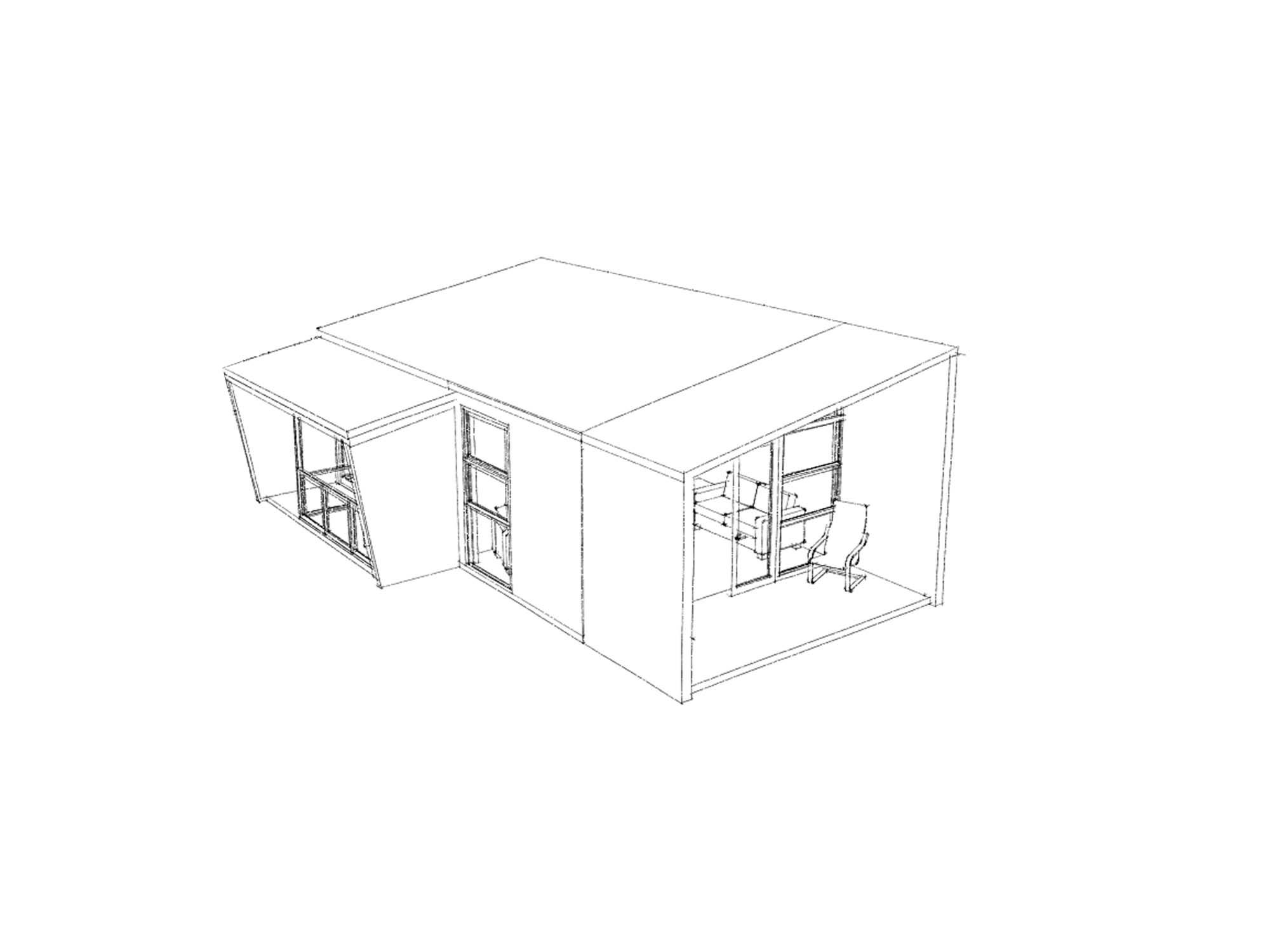 3D view of studio Te Whare-iti TWI 01