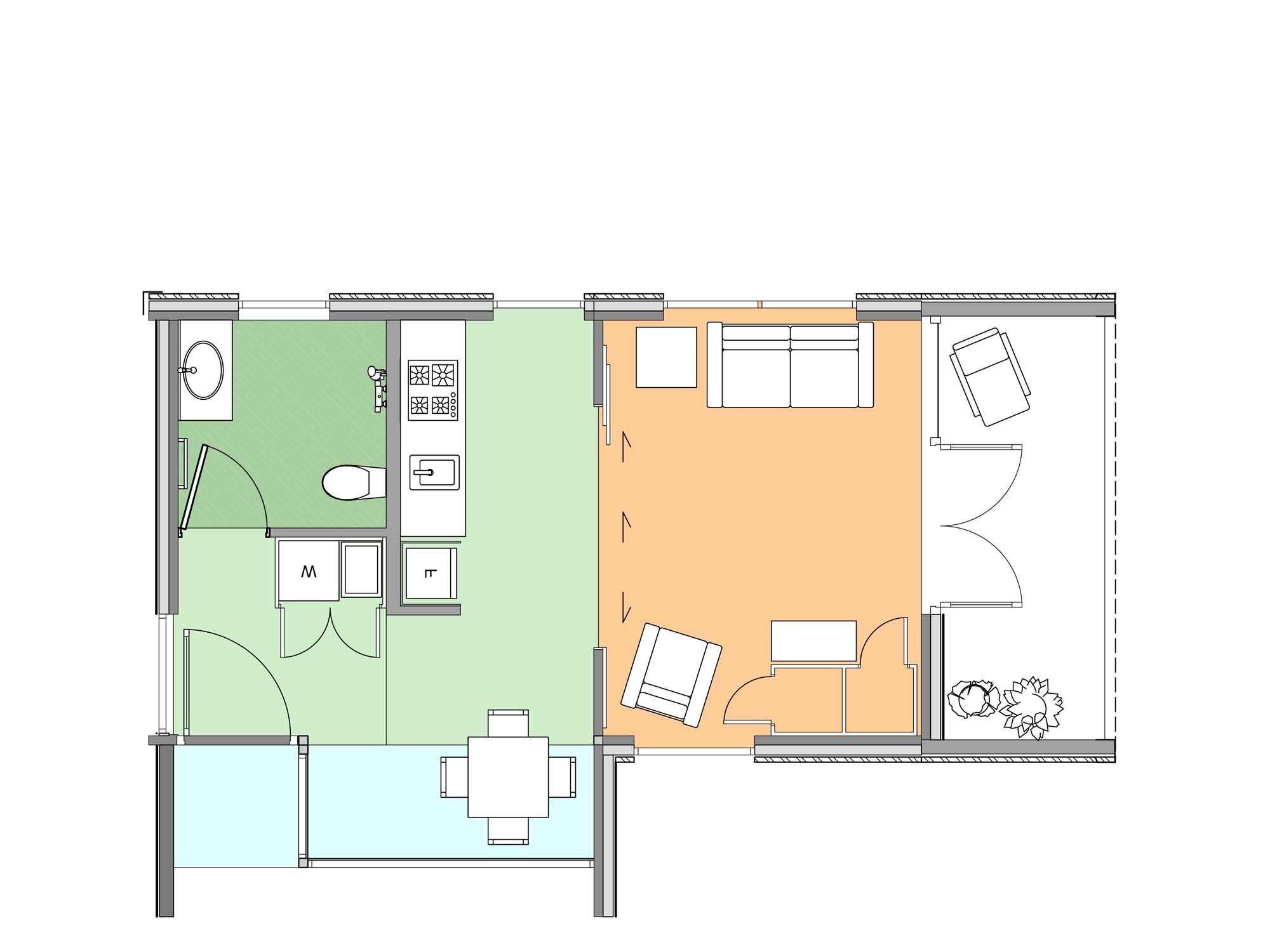 Plan of studio Te Whare-iti TWI 01M