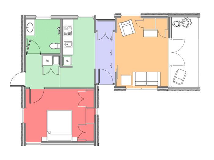 Plan of one-bedroom Te Whare-iti TWI 11