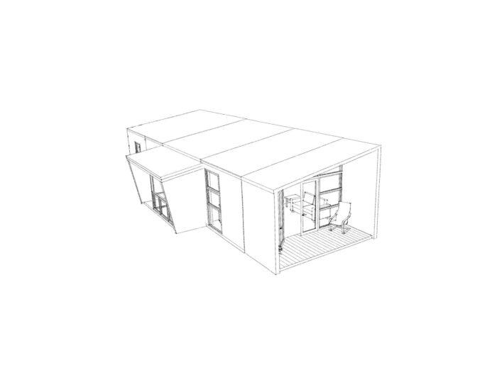 3D view of two-bedroom Te Whare-iti TWI 21