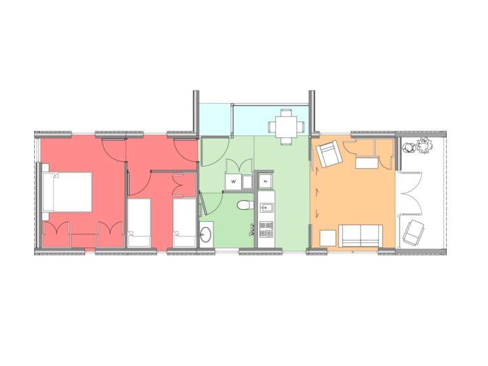 Plan of two-bedroom Te Whare-iti TWI 21