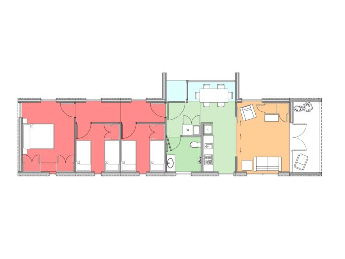 Plan of three-bedroom Te Whare-iti TWI 31