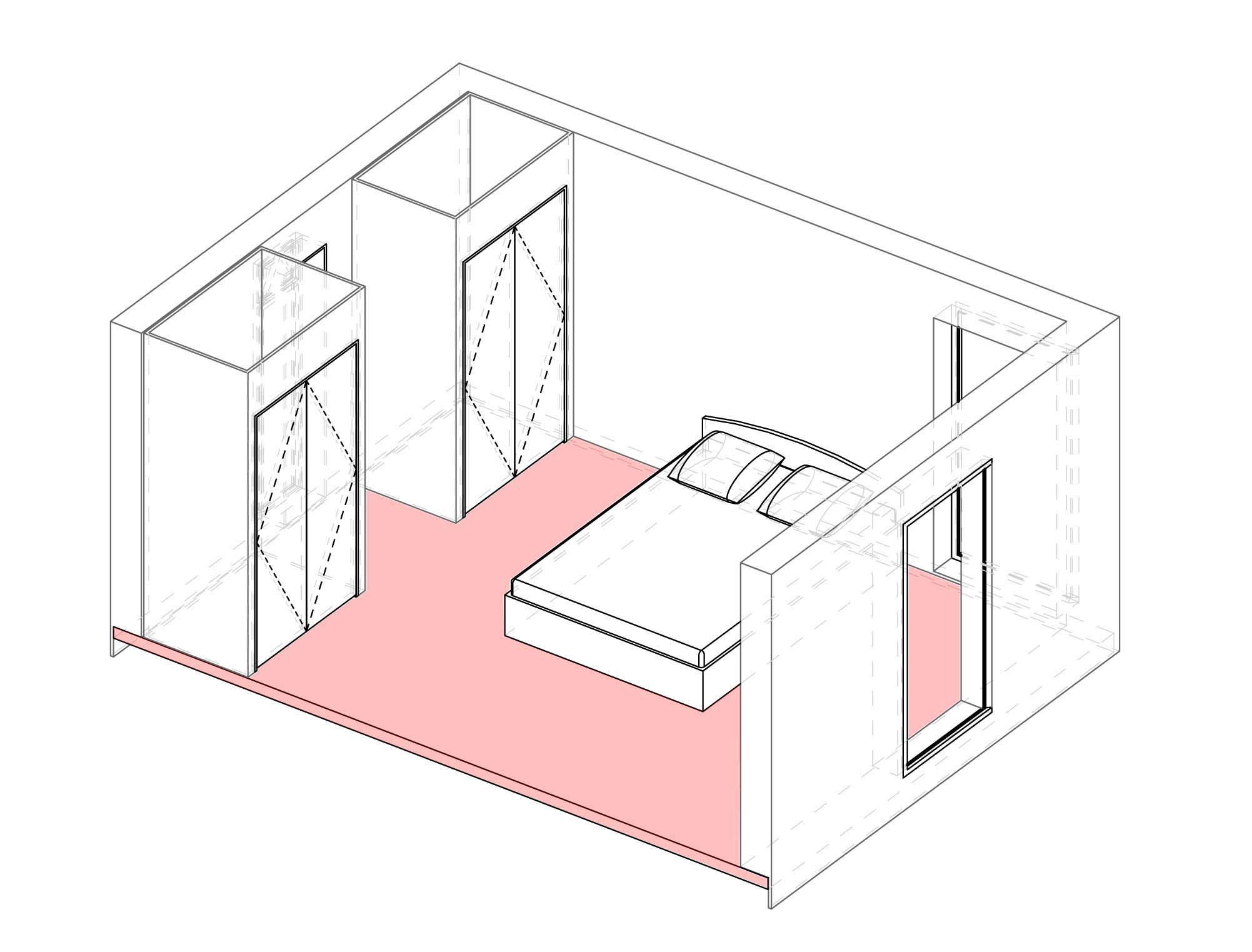Axonometric projection of bedroom module.