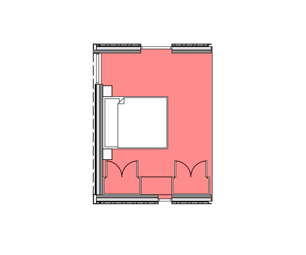 Plan of bedroom module.