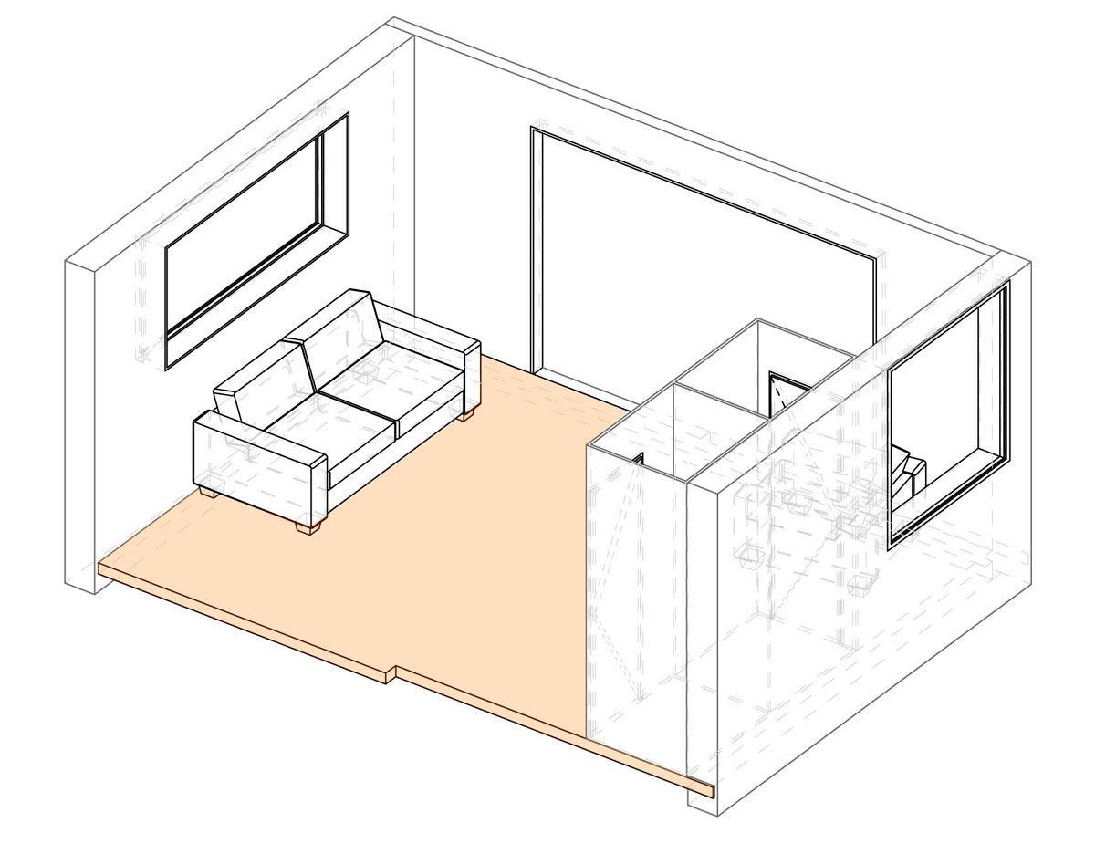 Axonometric projection of multi-use module.