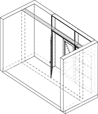 Axonometric projection of porch module