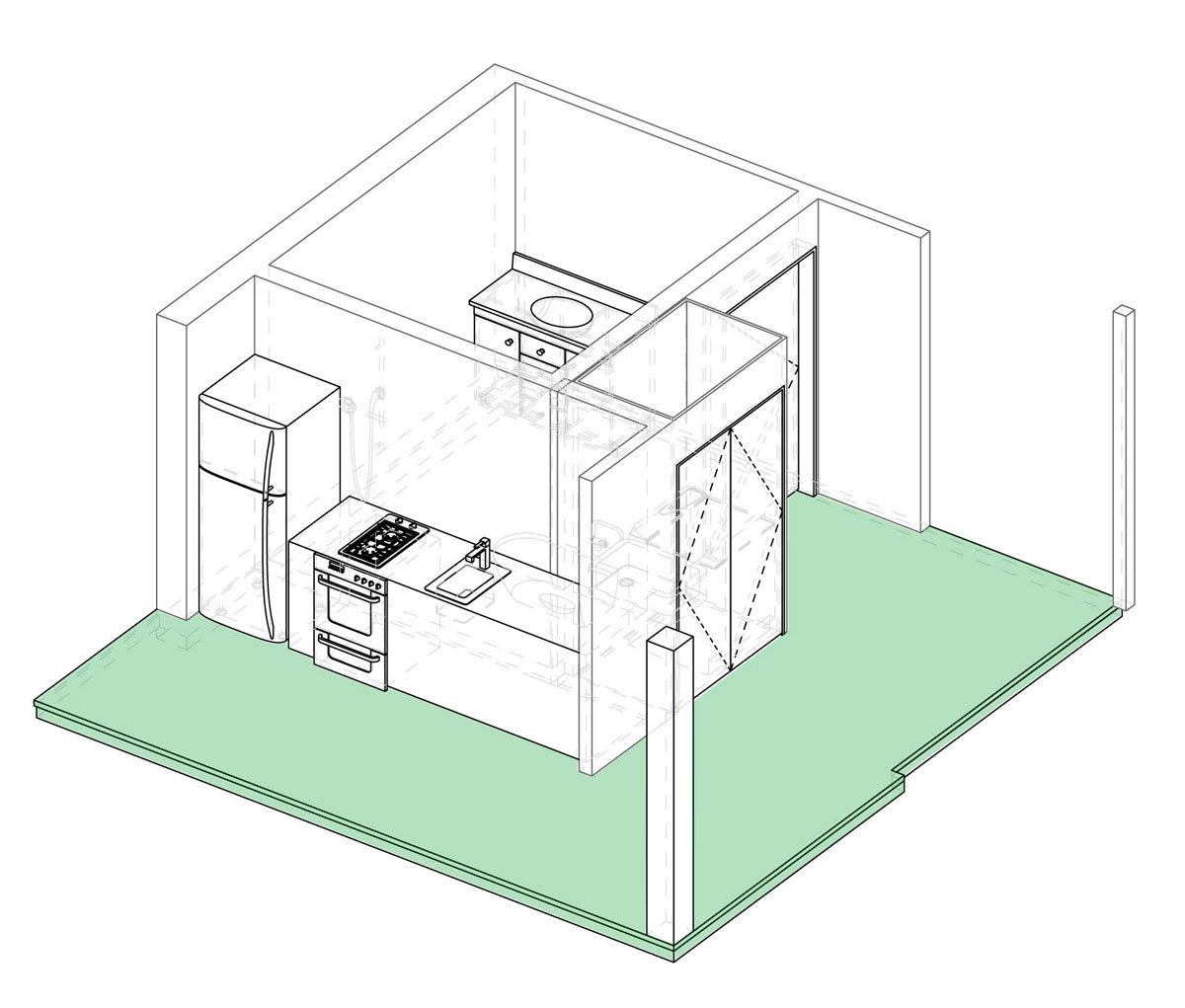 Axonometric projection of service module.