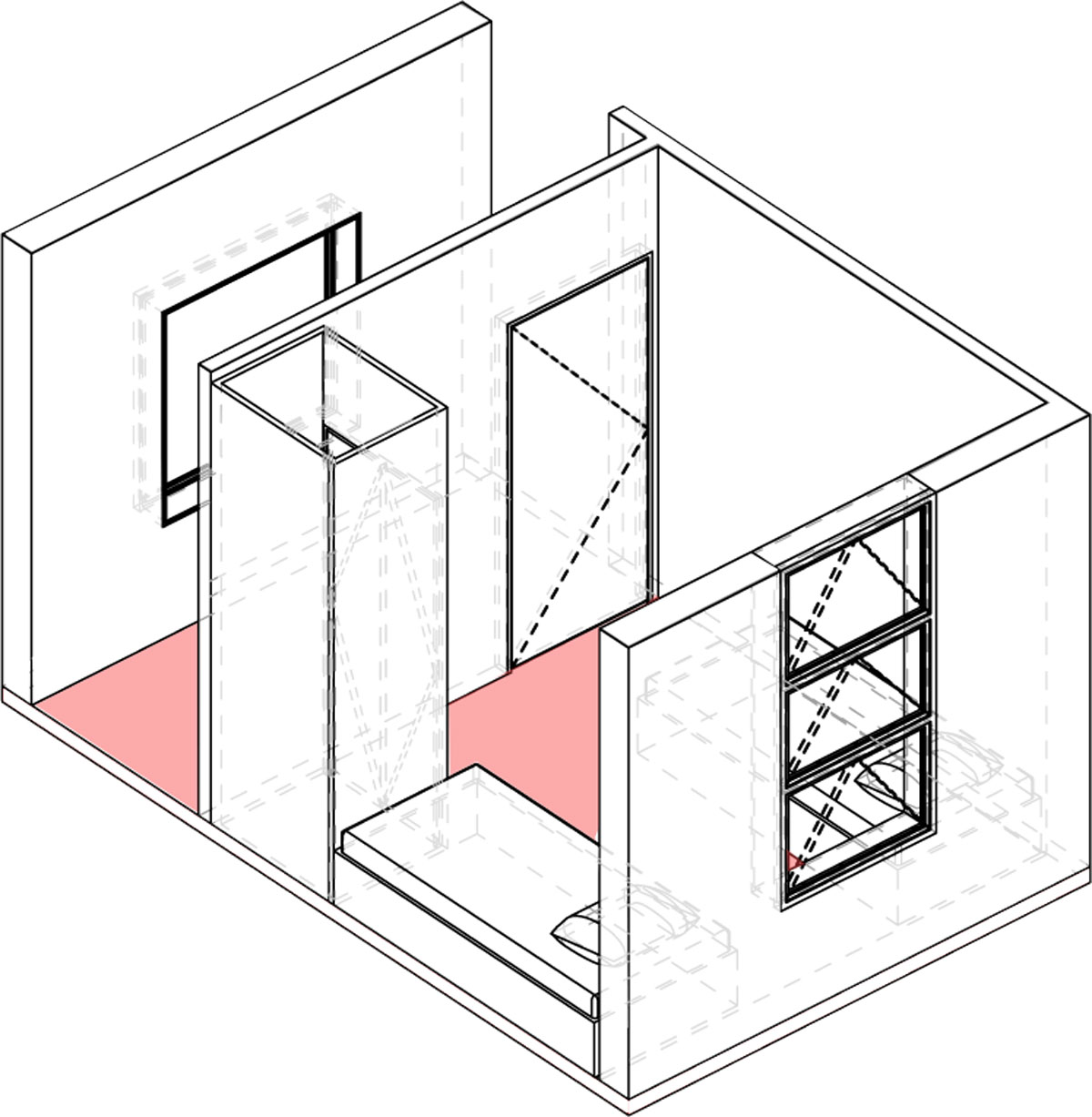 Axonometric projection of small bedroom and dividing walllink module