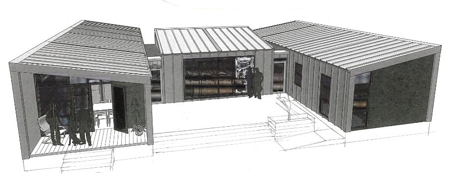 3D view of Te Whare-iti papakainga / multi-generational house
