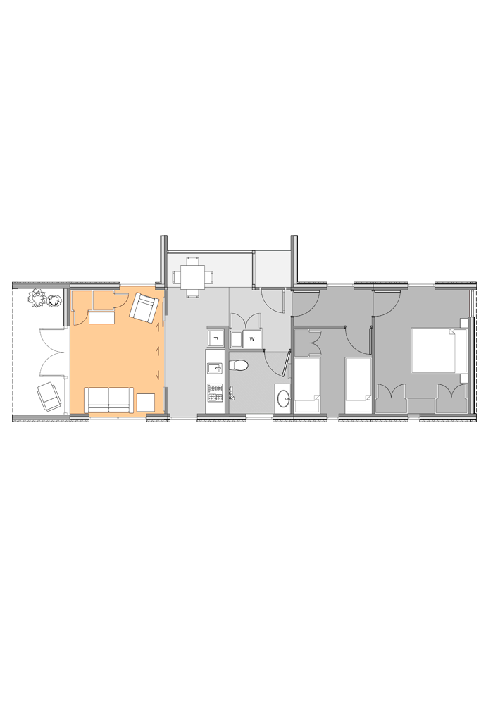 Multi-use module highlighted in plan of two-bedroom Te Whare-iti TWI-21