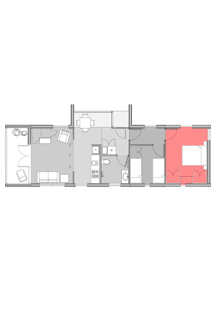 Large bedroom module highlighted in two-bedroom Te Whare-iti TWI-21