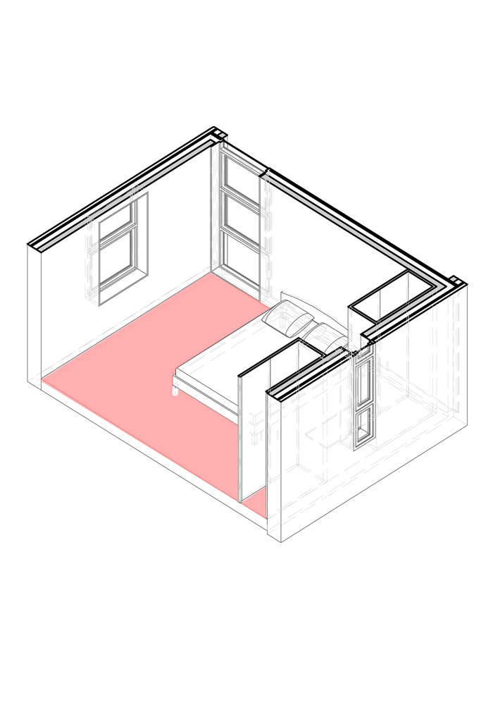 3D view of large bedroom module