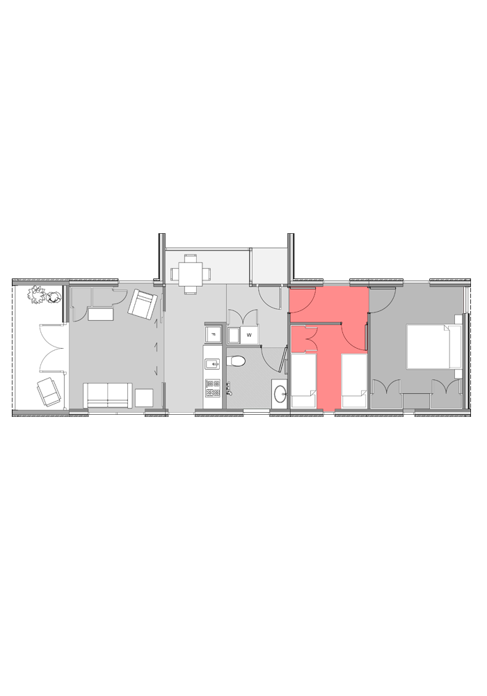 Small bedroom module highlighted in two-bedroom Te Whare-iti TWI-21