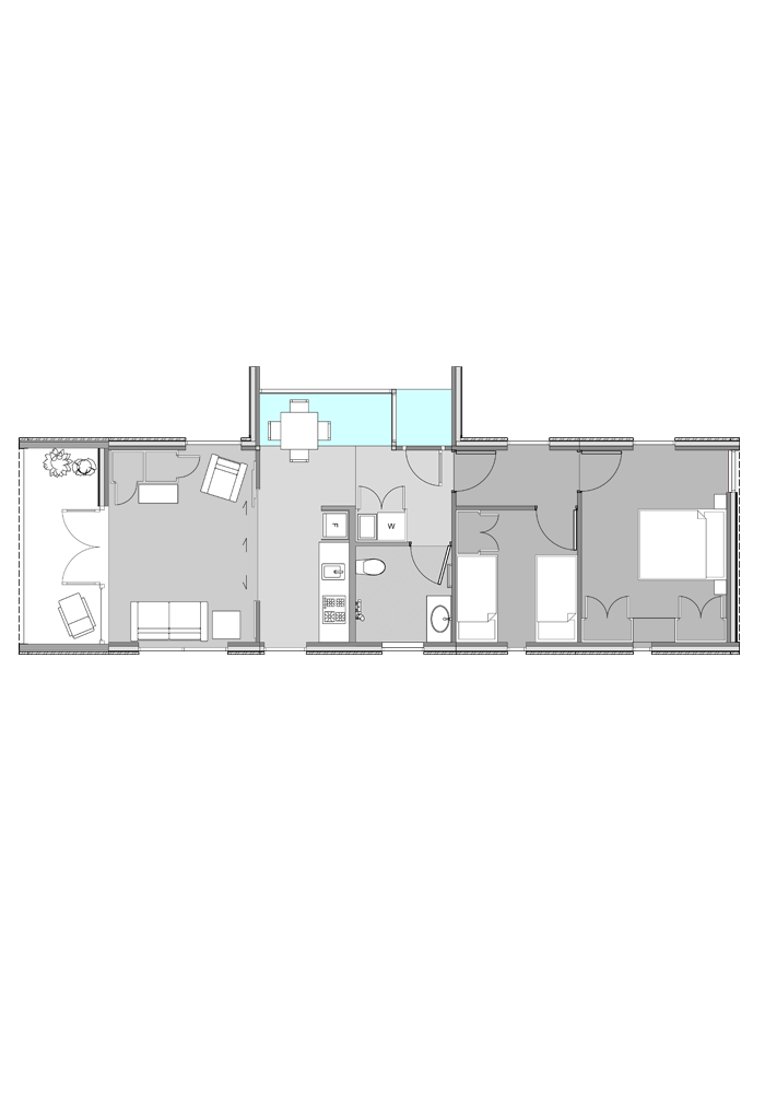 Sunspace 1 highlighted in plan of two-bedroom Te Whare-iti TWI-21